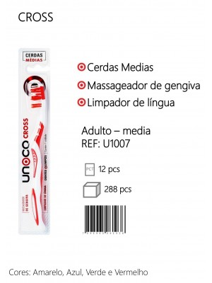 Escova Dental Adulta Cerdas Medias Cross C/ 12 Unidades